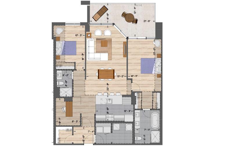 Plan de l'appartement 109,209,309 et 409 de l'unité 2067