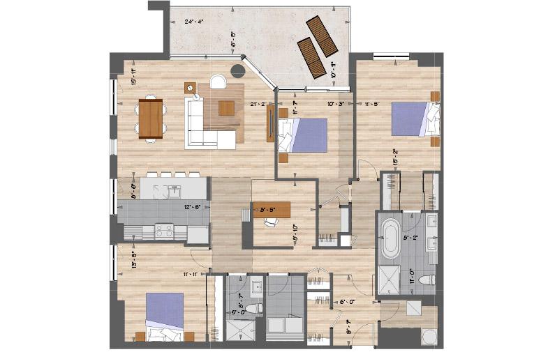 Plan de l'appartement 301 de l'unité 2067